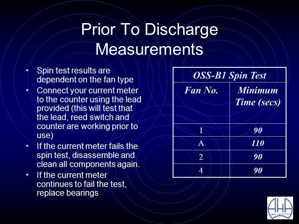 Prior To Discharge Measurements Spin test results are dependent on the fan type Connect your current meter to the counter using the lead provided (this will test that the lead, reed switch and counter are working prior to use) If the current meter fails the spin test, disassemble and clean all components again.
