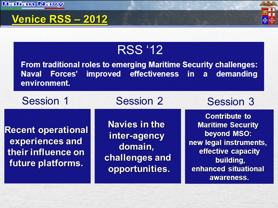 RSS 12 Recent operational experiences and their influence on future platforms. Navies in the inter-agencydomain, challenges and opportunities. opportu