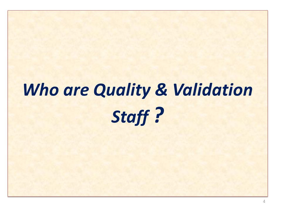 Who are Quality & Validation Staff 4