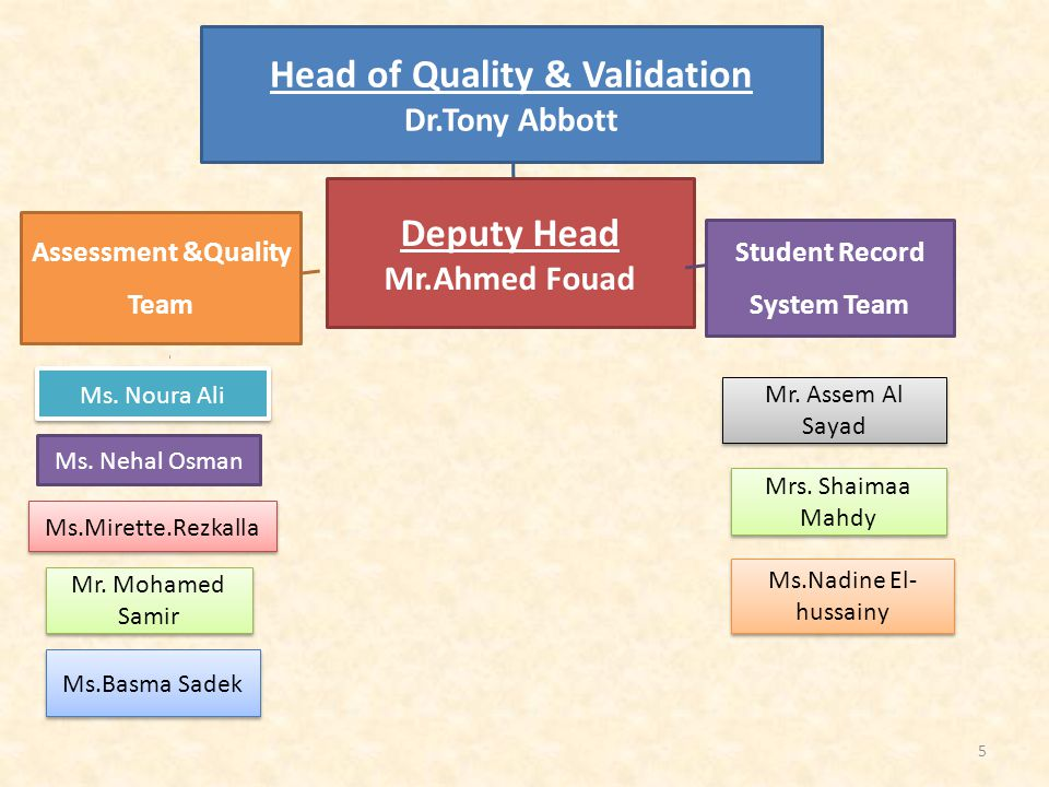 Head of Quality & Validation Dr.Tony Abbott Deputy Head Mr.Ahmed Fouad Assessment &Quality Team Ms.