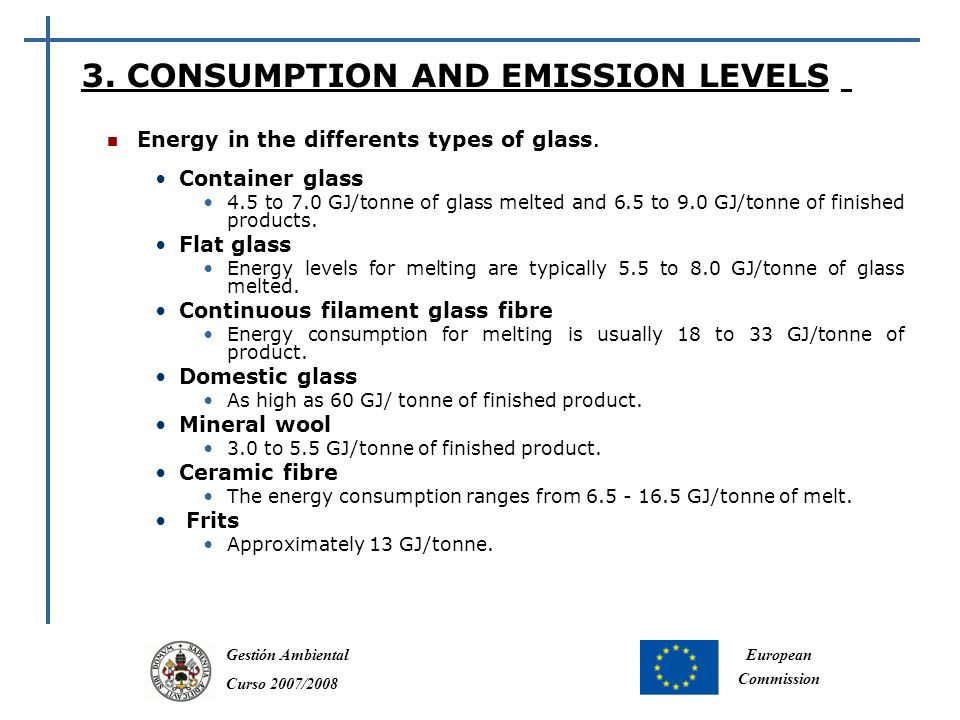 Gestión Ambiental Curso 2007/2008 European Commission Energy in the differents types of glass.