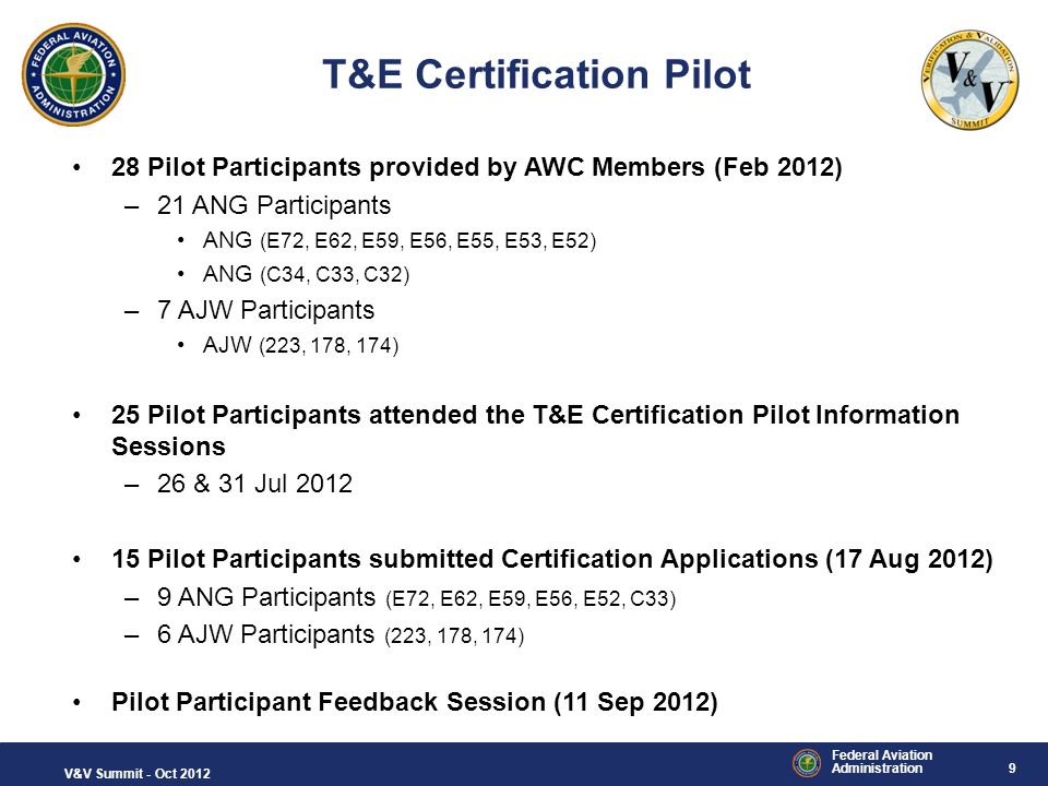9 Federal Aviation Administration V&V Summit - Oct 2012 T&E Certification Pilot 28 Pilot Participants provided by AWC Members (Feb 2012) –21 ANG Parti