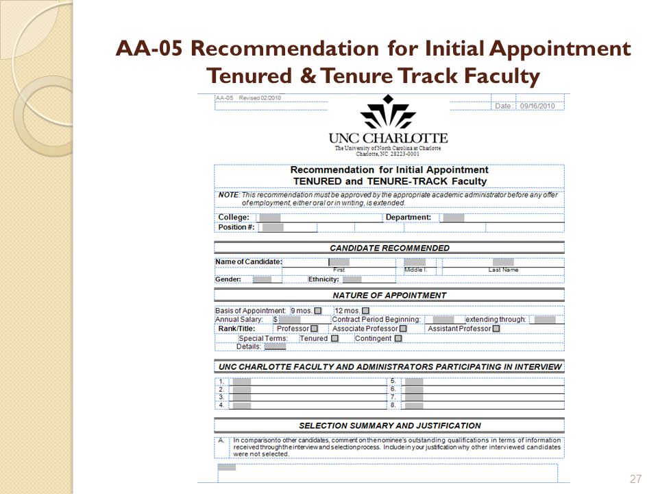 AA-05 Recommendation for Initial Appointment Tenured & Tenure Track Faculty 27