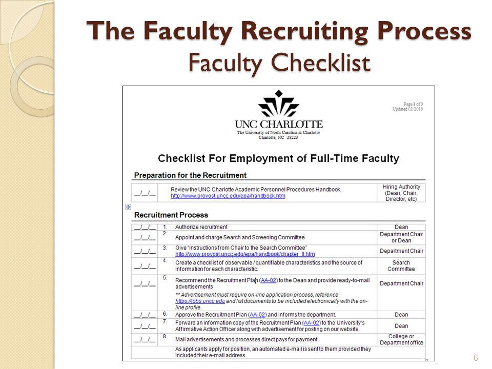 The Faculty Recruiting Process Faculty Checklist 6