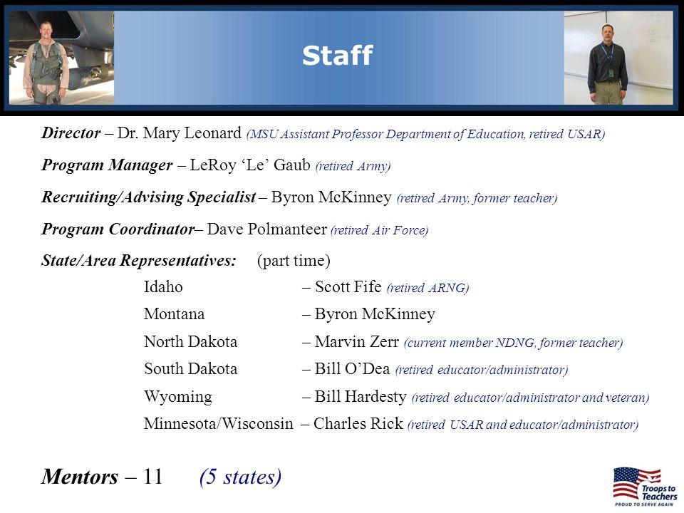 Staff Director – Dr. Mary Leonard (MSU Assistant Professor Department of Education, retired USAR) Program Manager – LeRoy Le Gaub (retired Army) Recru