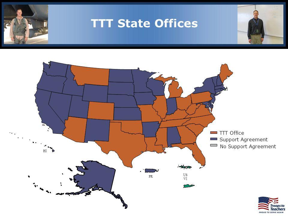 AK HI PR US VI TTT Office Support Agreement No Support Agreement Lewis and Clark Region TTT State Offices