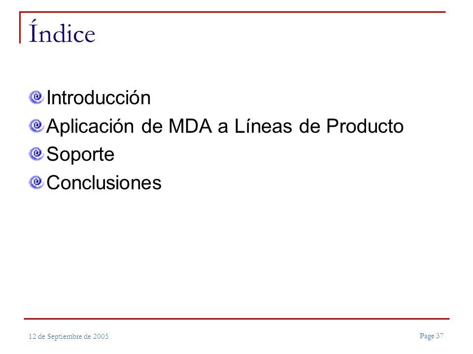 Page 37 12 de Septiembre de 2005 Índice Introducción Aplicación de MDA a Líneas de Producto Soporte Conclusiones