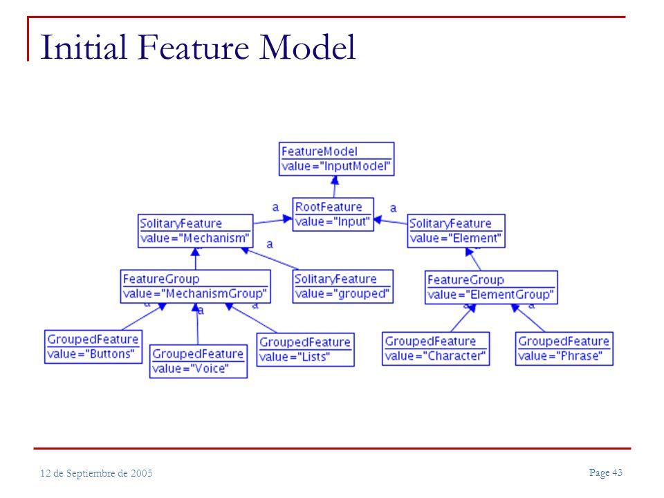 Page 43 12 de Septiembre de 2005 Initial Feature Model