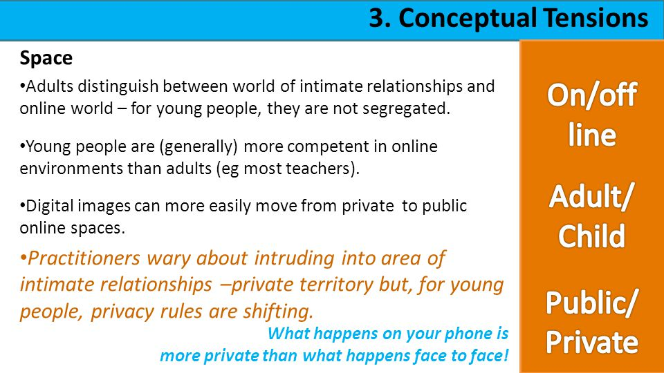 3. Conceptual Tensions Space Adults distinguish between world of intimate relationships and online world – for young people, they are not segregated.