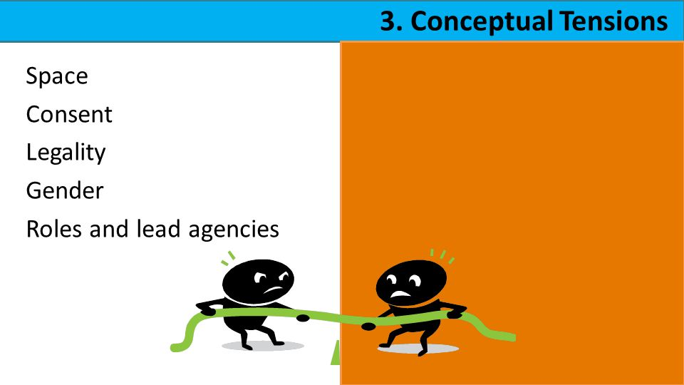 3. Conceptual Tensions Space Consent Legality Gender Roles and lead agencies