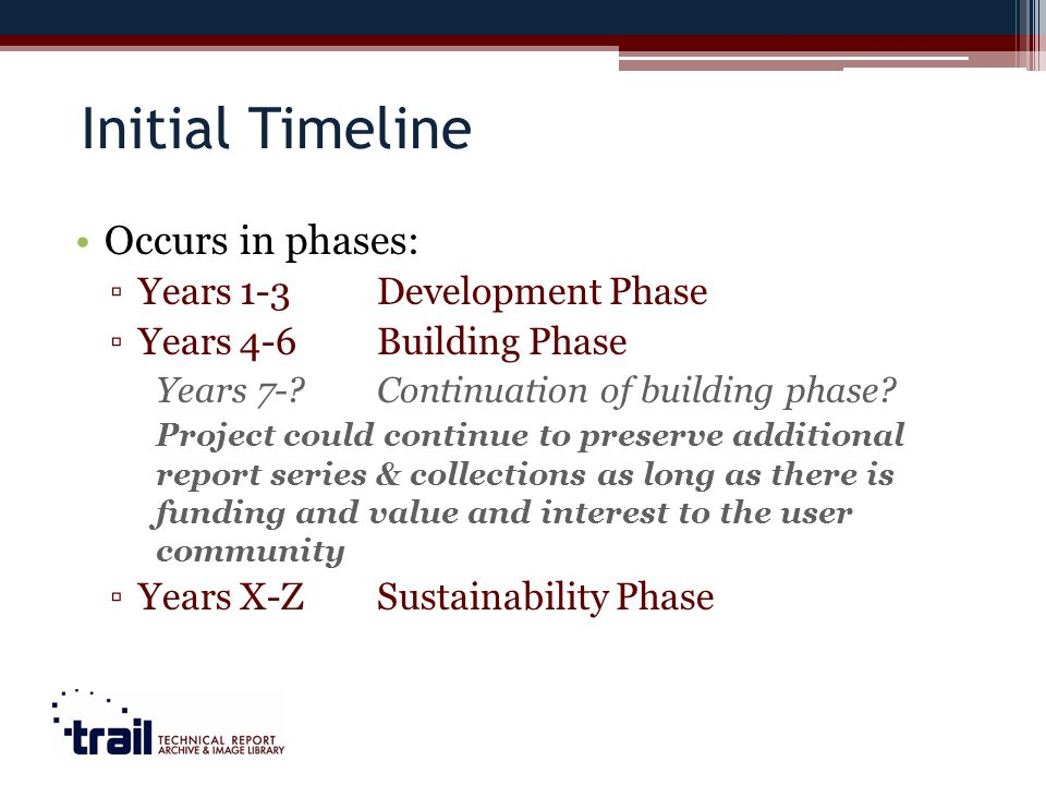 Initial Timeline Occurs in phases: Years 1-3Development Phase Years 4-6Building Phase Years 7- Continuation of building phase.