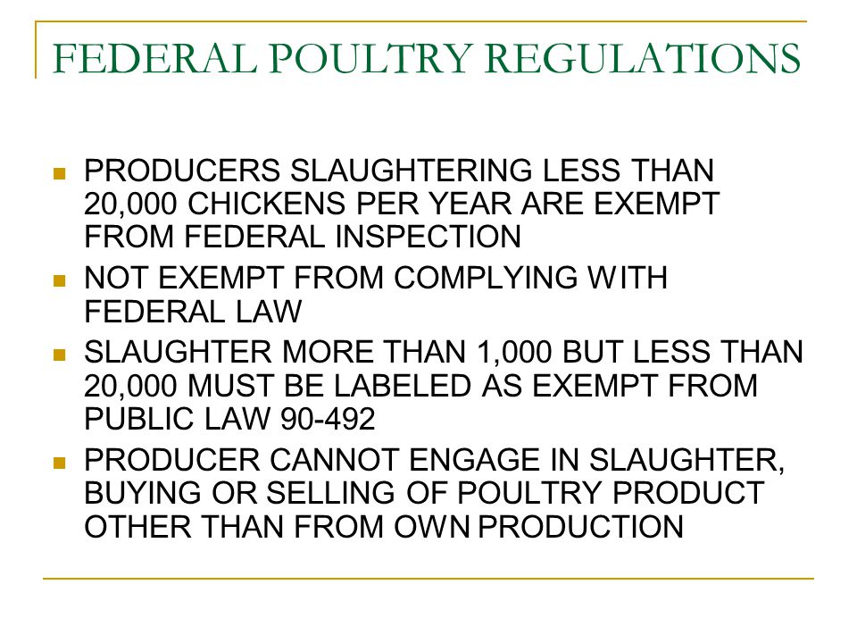 POULTRY AND MEAT TO BE SOLD AT A FARMERS MARKET MUST BE FROM A SOURCE CONSIDERED APPROVED BY DHMH POULTRY – USDA INSPECTED OR MDA INSPECTED PRODUCERS MOBILE FARMERS MARKET LICENSE REQUIRED RABBITS AND BISON – USDA INSPECTED OR MDA INSPECTED PRODUCERS MOBILE FARMERS MARKET LICENSE REQUIRED IF USDA INSPECTED AND STORED ON FARM, ON FARM HOME PROCESSING LICENSE REQUIRED TO STORE