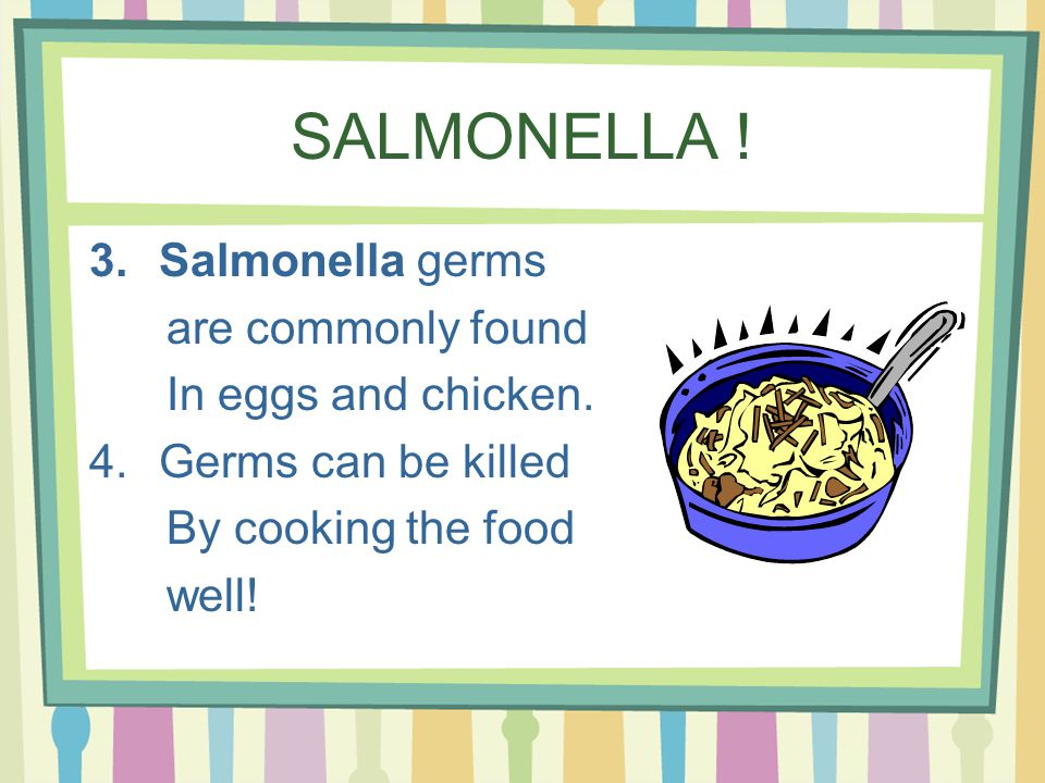 SALMONELLA . 3.Salmonella germs are commonly found In eggs and chicken.