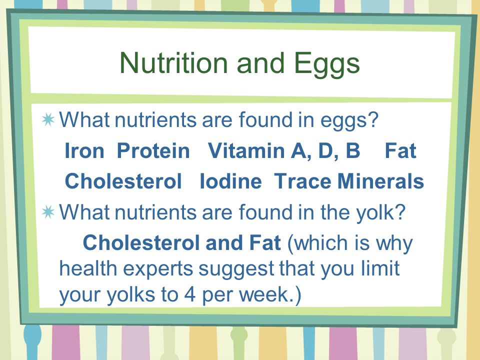 Nutrition and Eggs What nutrients are found in eggs.