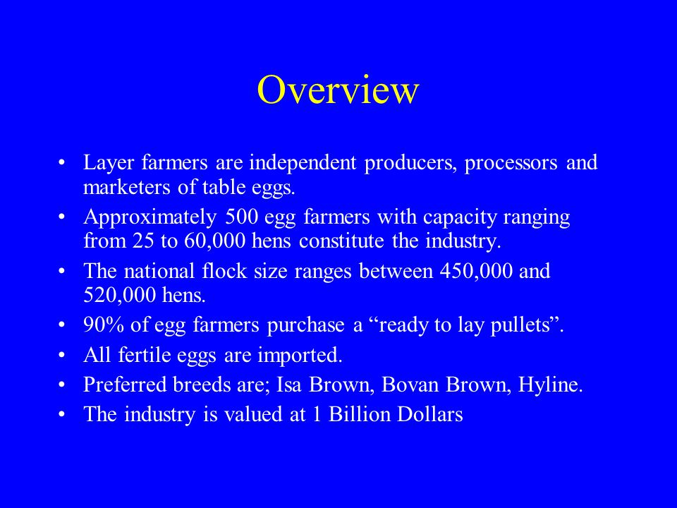 Overview Layer farmers are independent producers, processors and marketers of table eggs. Approximately 500 egg farmers with capacity ranging from 25