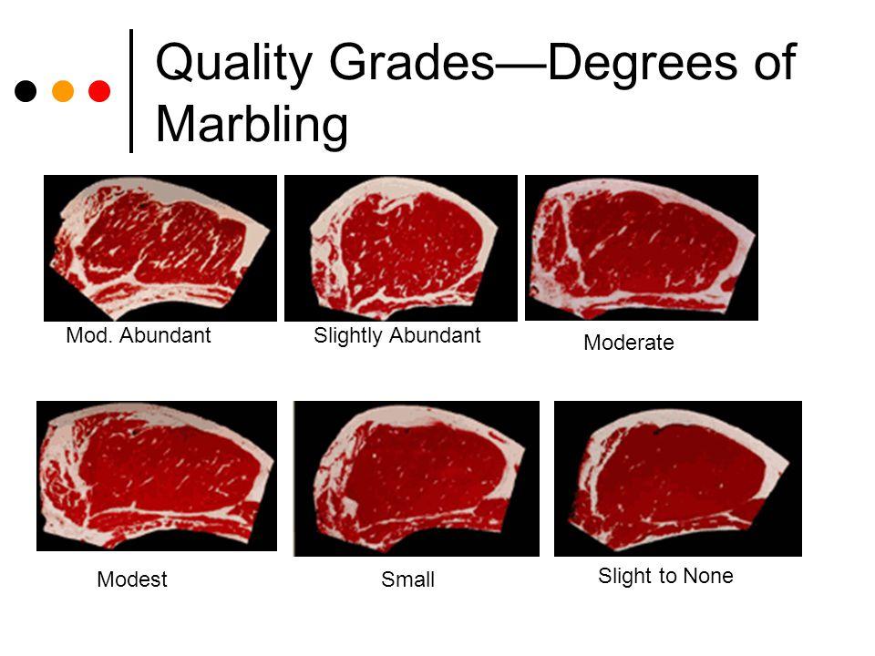 Quality GradesDegrees of Marbling Mod. AbundantSlightly Abundant Moderate ModestSmall Slight to None