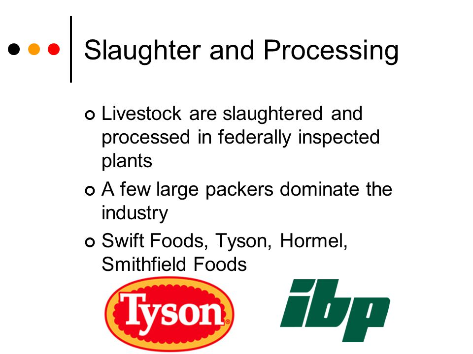 Slaughter and Processing Livestock are slaughtered and processed in federally inspected plants A few large packers dominate the industry Swift Foods,