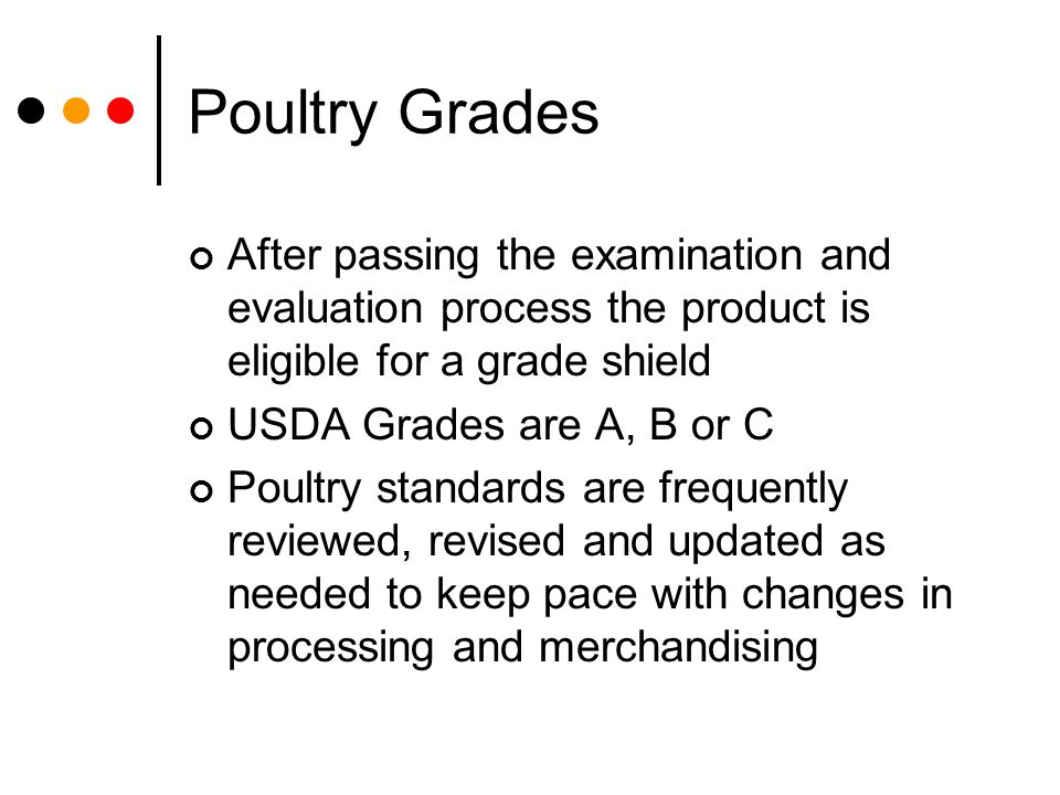 Poultry Grades After passing the examination and evaluation process the product is eligible for a grade shield USDA Grades are A, B or C Poultry stand