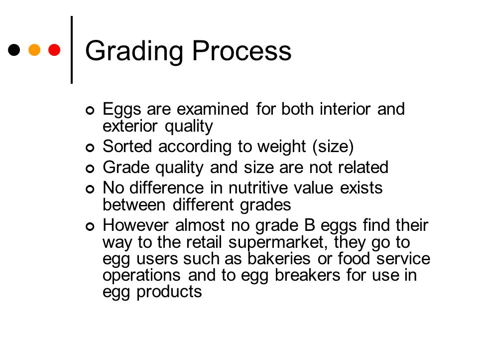 Grading Process Eggs are examined for both interior and exterior quality Sorted according to weight (size) Grade quality and size are not related No d
