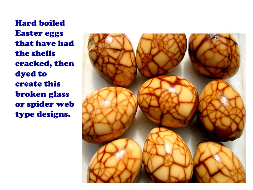Hard boiled Easter eggs that have had the shells cracked, then dyed to create this broken glass or spider web type designs.