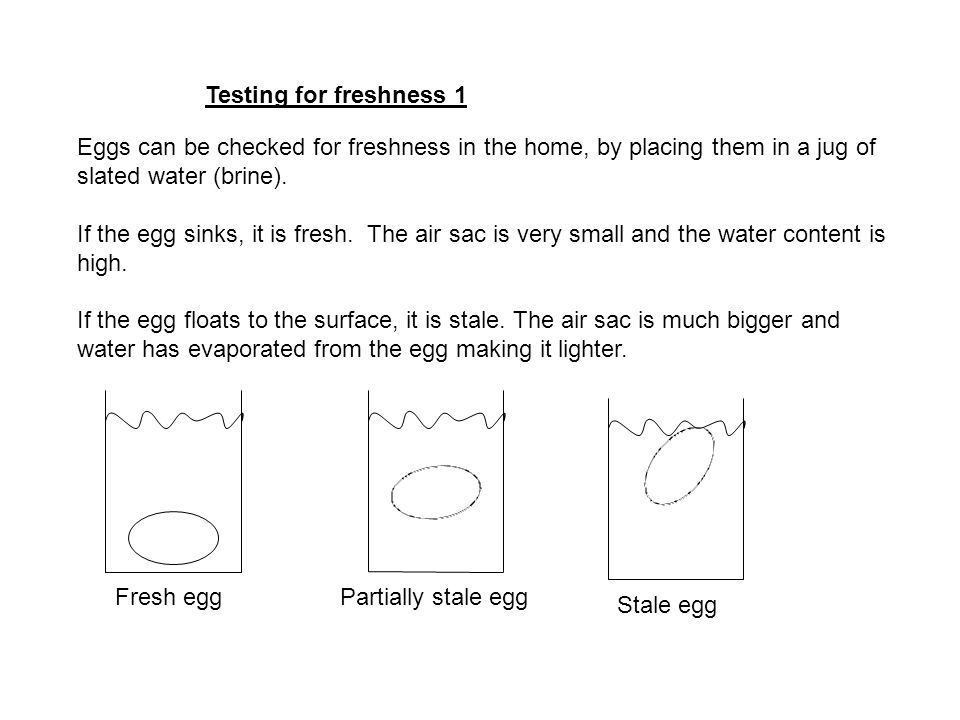 Testing for freshness 1 Eggs can be checked for freshness in the home, by placing them in a jug of slated water (brine).