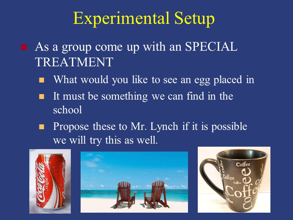 Experimental Setup As a group come up with an SPECIAL TREATMENT What would you like to see an egg placed in It must be something we can find in the school Propose these to Mr.