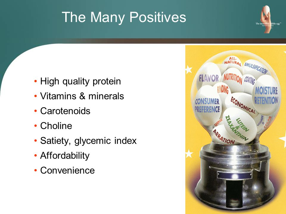 The Many Positives High quality protein Vitamins & minerals Carotenoids Choline Satiety, glycemic index Affordability Convenience
