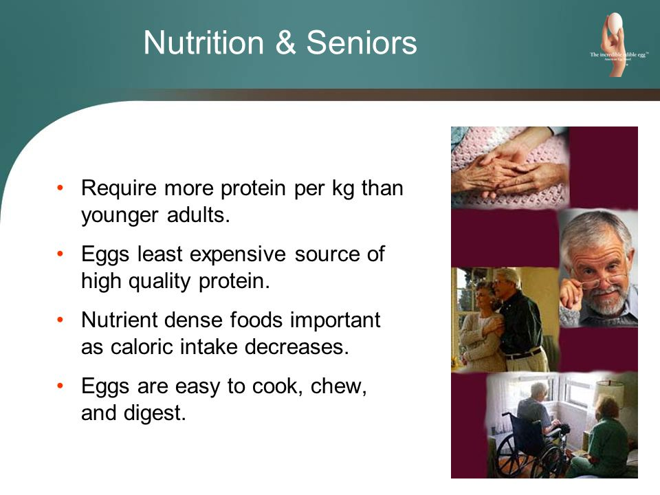 Nutrition & Seniors Require more protein per kg than younger adults.