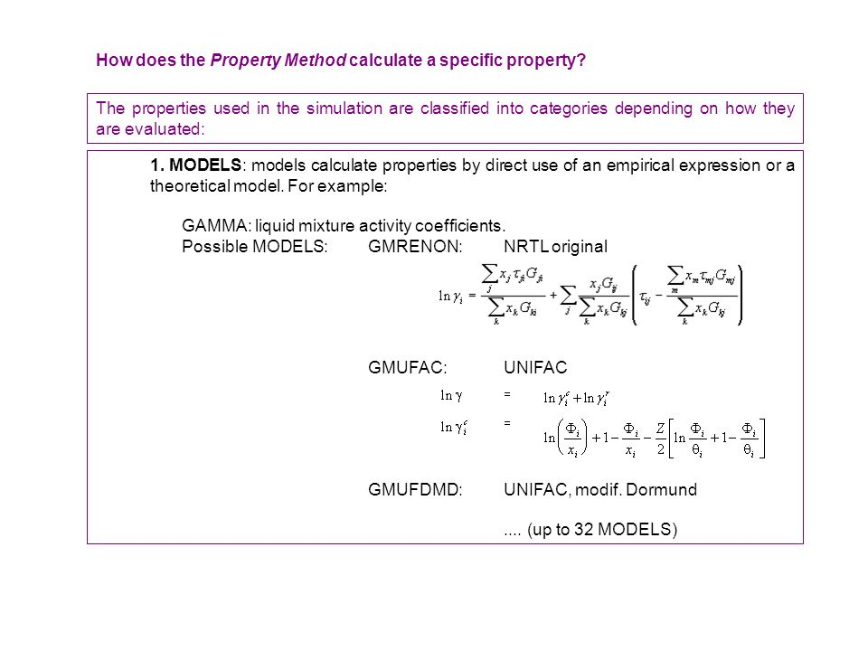 How does the Property Method calculate a specific property.