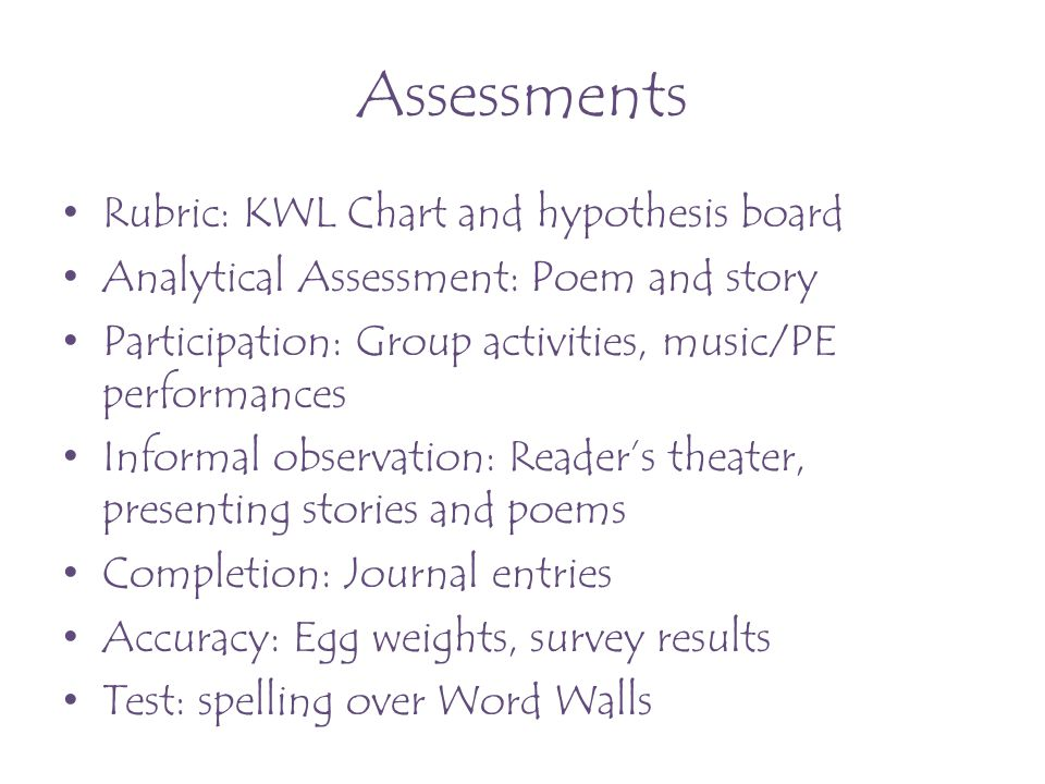 Assessments Rubric: KWL Chart and hypothesis board Analytical Assessment: Poem and story Participation: Group activities, music/PE performances Inform
