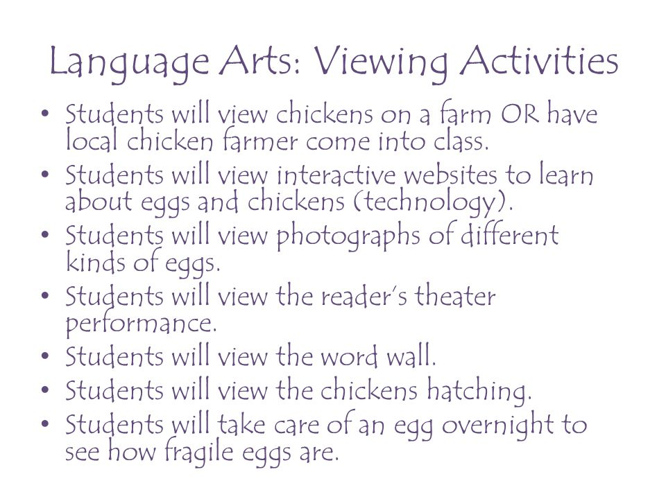 Language Arts: Visually Representing Activities Students will display their poems artistically.