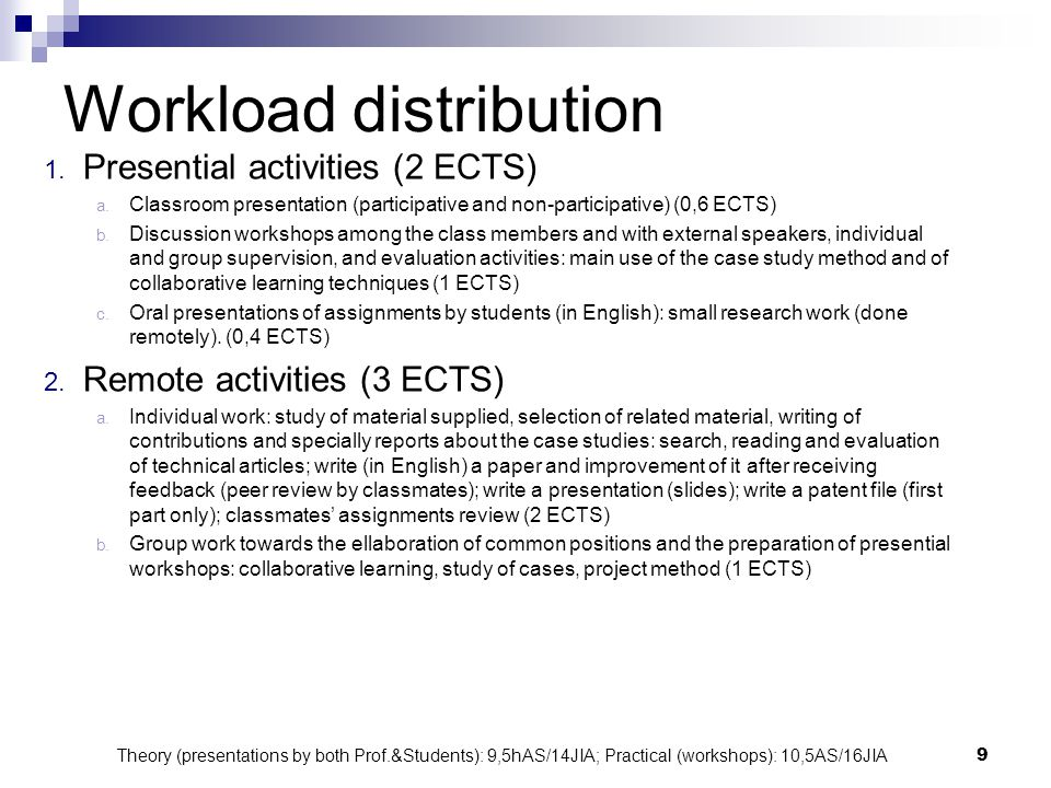 9 Workload distribution 1. Presential activities (2 ECTS) a. Classroom presentation (participative and non-participative) (0,6 ECTS) b. Discussion wor