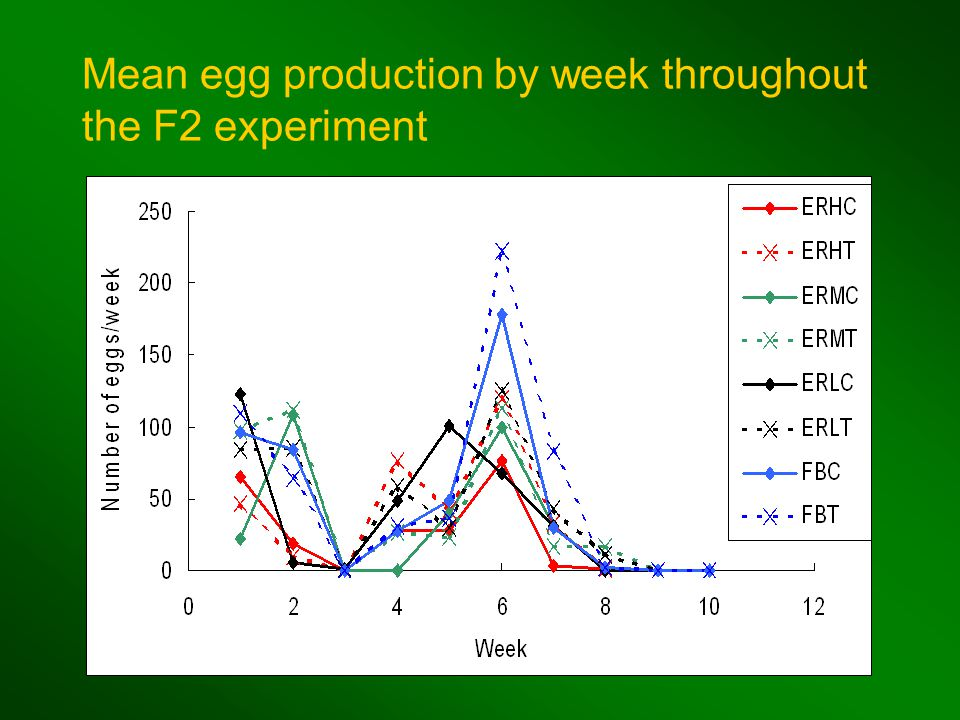 Mean egg production by week throughout the F2 experiment