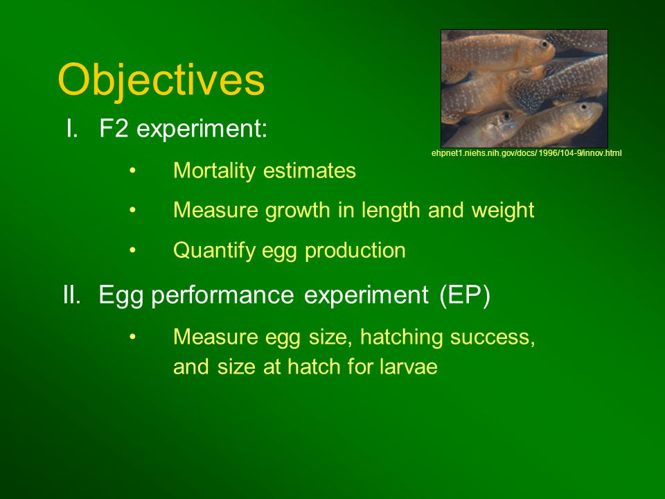 Mortality estimates Measure growth in length and weight Quantify egg production II.