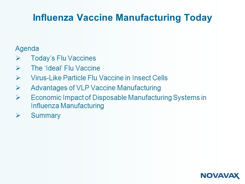 23 Traditional Flu Vaccine Production: Insect Cell Culture-Based Flu Vaccine Production: Large, central manufacturing facilities Located in developed countries Supported by complex site infrastructure ~100M doses $150 – $300M Facilities Distributed Globally Located where vaccine is needed Requiring little local infrastructure 10 – 20 M doses (75M dose plant for ~$40M) Influenza Vaccine Production The Disposable Approach Facility $150,000,000 Sq ft145,000 Facility $40,000,000 Sq ft 55,000 NVAX VLPs Egg Based