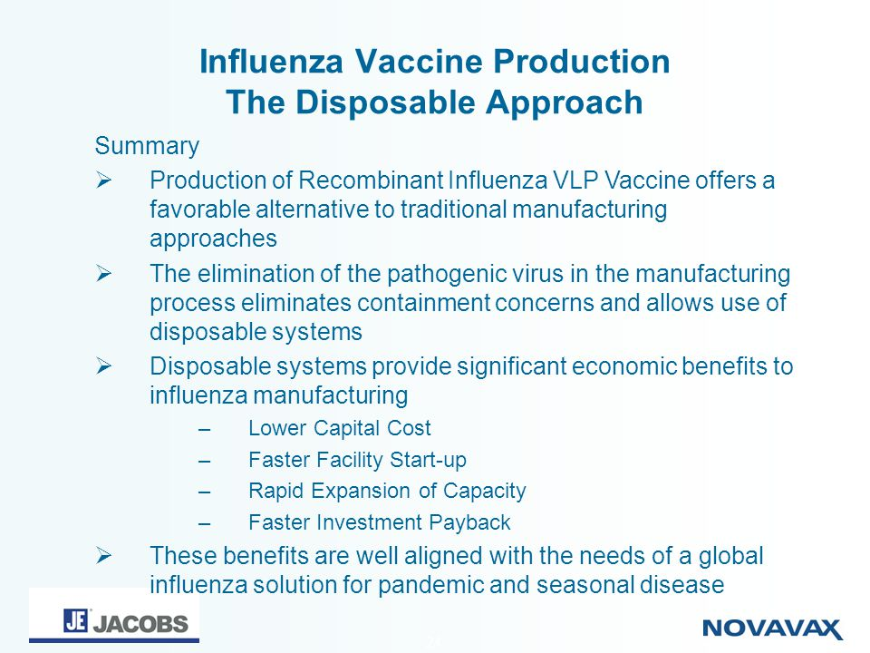 24 Influenza Vaccine Production The Disposable Approach Summary Production of Recombinant Influenza VLP Vaccine offers a favorable alternative to trad