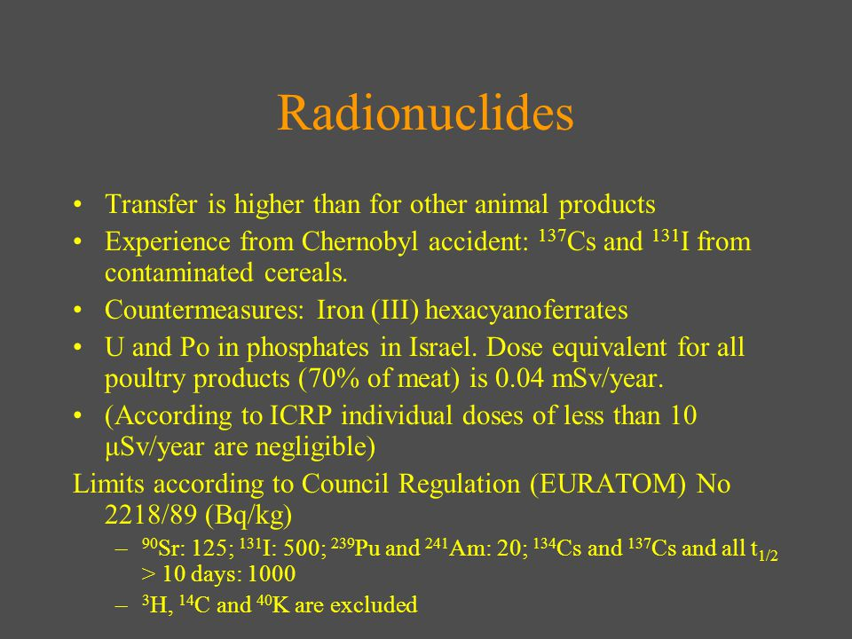 Radionuclides Transfer is higher than for other animal products Experience from Chernobyl accident: 137 Cs and 131 I from contaminated cereals.