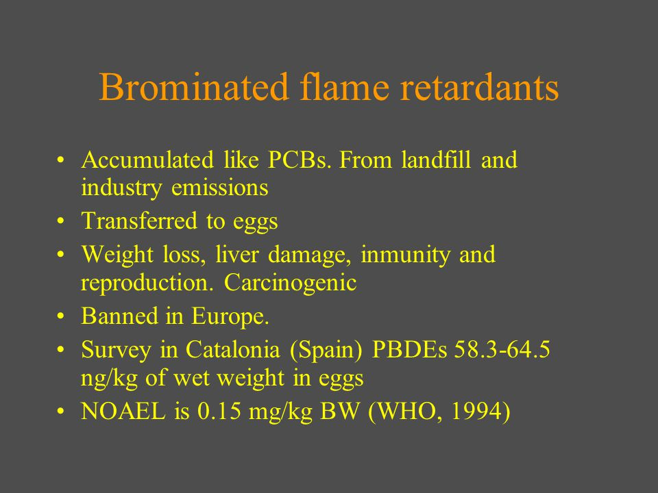 Brominated flame retardants Accumulated like PCBs.