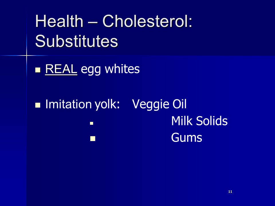 11 Health – Cholesterol: Substitutes REAL REAL egg whites Imitation yolk: Veggie Oil Milk Solids Gums