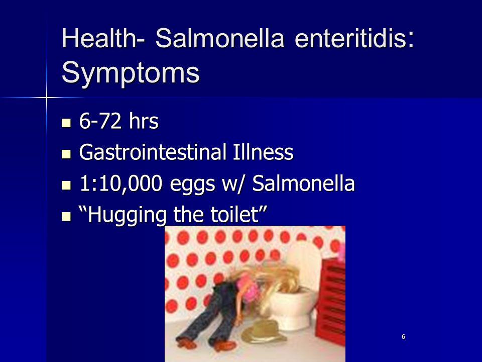 6 Health- Salmonella enteritidis : Symptoms 6-72 hrs 6-72 hrs Gastrointestinal Illness Gastrointestinal Illness 1:10,000 eggs w/ Salmonella 1:10,000 eggs w/ Salmonella Hugging the toilet Hugging the toilet