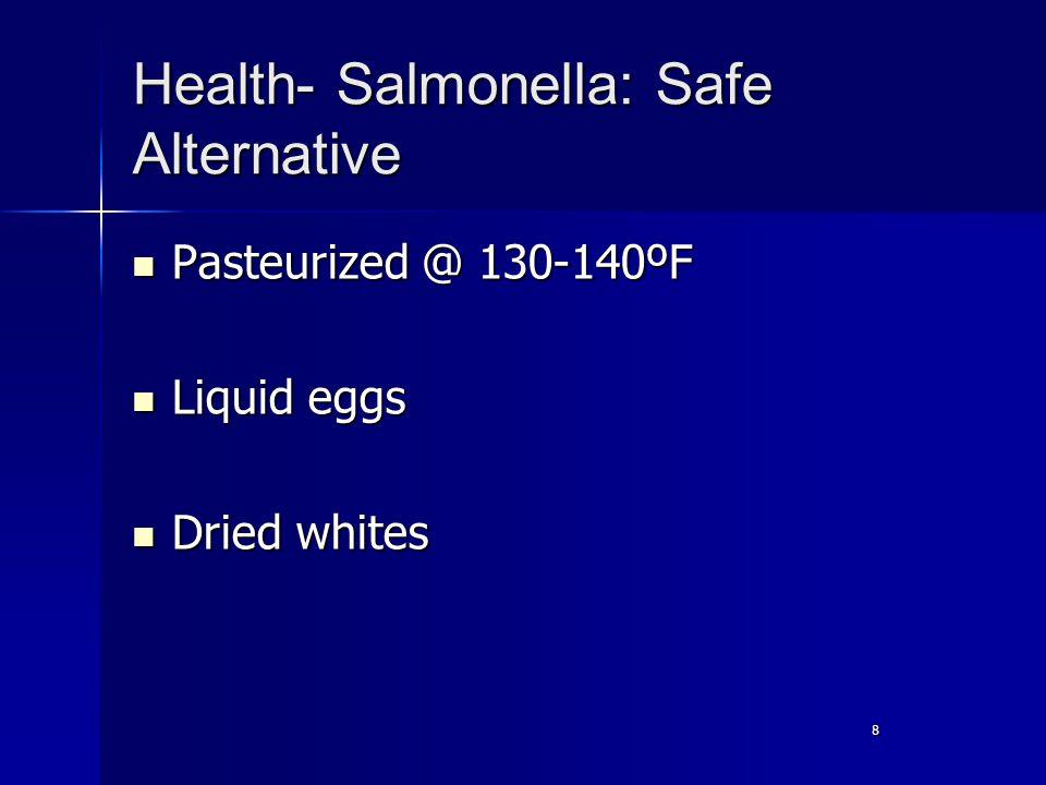 8 Health- Salmonella: Safe Alternative Pasteurized @ 130-140ºF Pasteurized @ 130-140ºF Liquid eggs Liquid eggs Dried whites Dried whites
