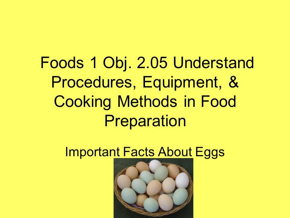 Foods 1 Obj. 2.05 Understand Procedures, Equipment, & Cooking Methods in Food Preparation Important Facts About Eggs