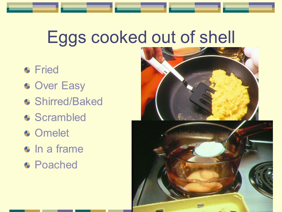 Eggs cooked out of shell Fried Over Easy Shirred/Baked Scrambled Omelet In a frame Poached