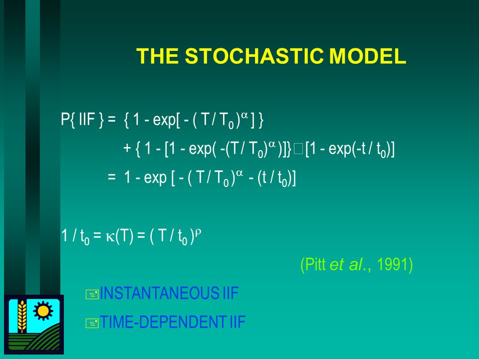 THE STOCHASTIC MODEL P{ IIF } = { 1 - exp[ - ( T / T 0 ) ] } + { 1 - [1 - exp( -(T / T 0 ) )]} [1 - exp(-t / t 0 )] = 1 - exp [ - ( T / T 0 ) - (t / t