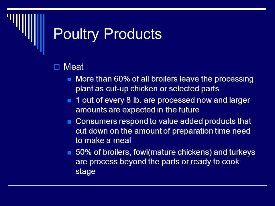 Poultry Products Meat More than 60% of all broilers leave the processing plant as cut-up chicken or selected parts 1 out of every 8 lb.