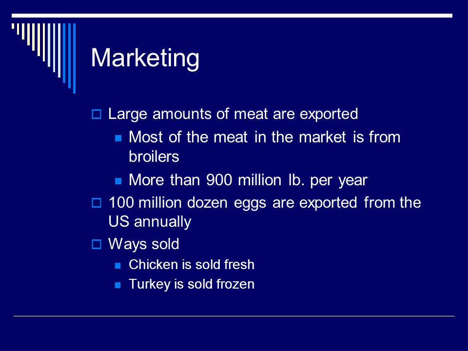 Marketing Large amounts of meat are exported Most of the meat in the market is from broilers More than 900 million lb.