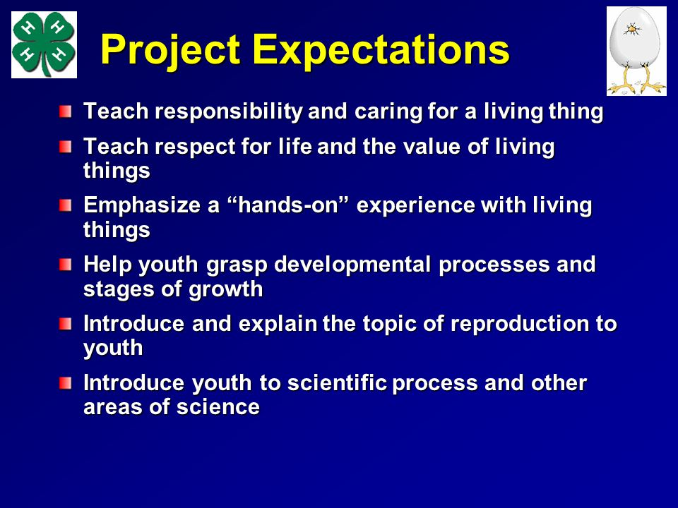 Project Expectations Teach responsibility and caring for a living thing Teach respect for life and the value of living things Emphasize a hands-on exp