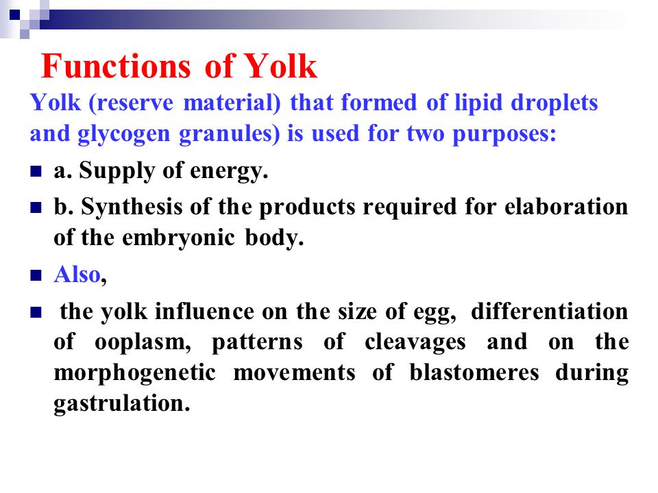 Functions of Yolk Yolk (reserve material) that formed of lipid droplets and glycogen granules) is used for two purposes: a. Supply of energy. b. Synth