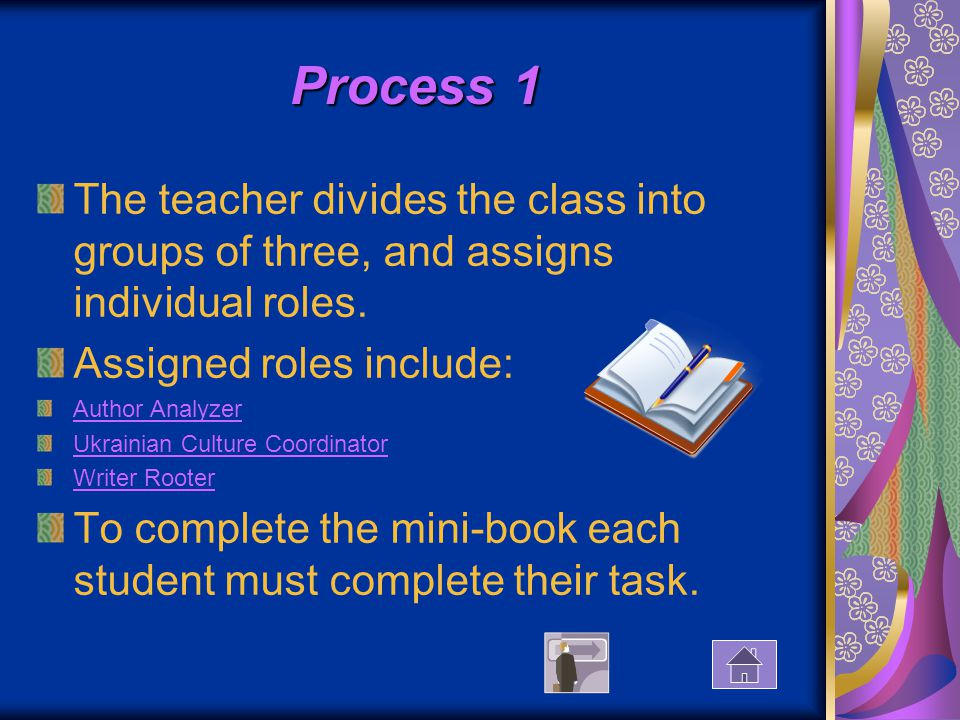 Process 1 The teacher divides the class into groups of three, and assigns individual roles.