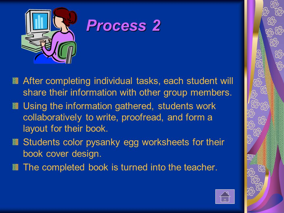 Process 2 After completing individual tasks, each student will share their information with other group members.